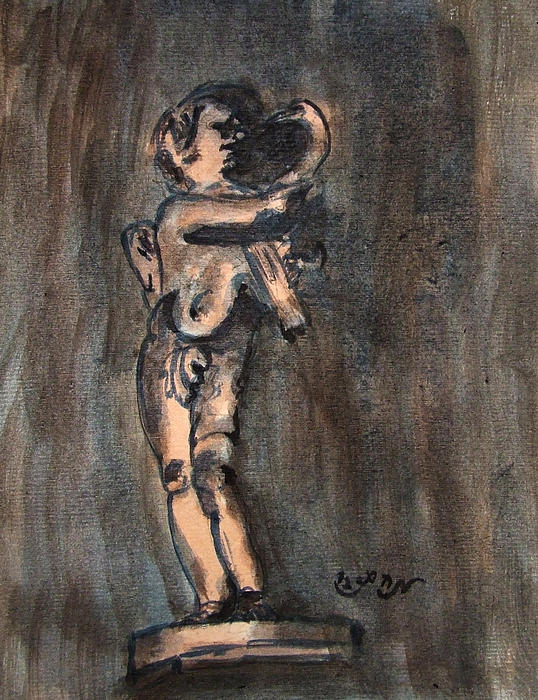 Nude Sculpture Young Boy And Pet Duck Religious Symbolism In Orange And Blue Vatican City Print by M Zimmerman