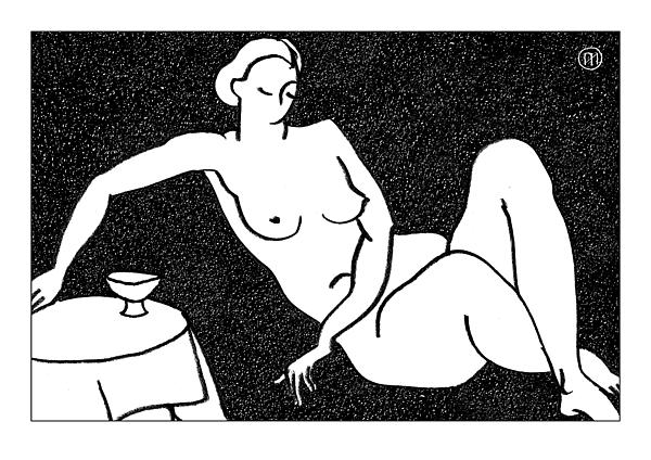 Nude Sketch 62 Print by Leonid Petrushin