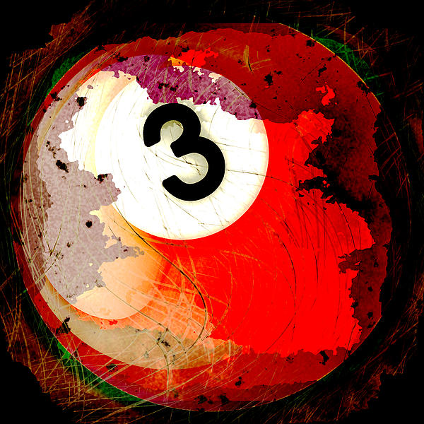 Number 3 Billiards Ball Print by David G Paul