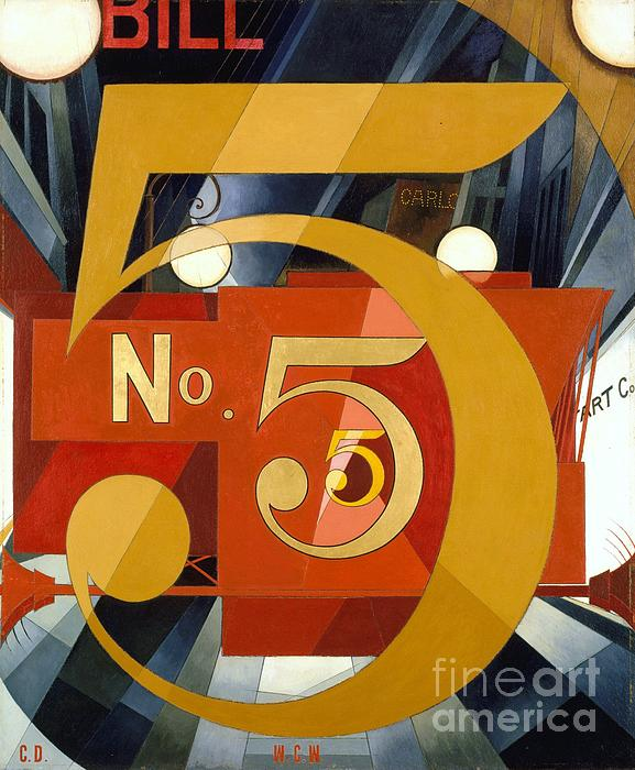Number 5 In Gold Print by Pg Reproductions