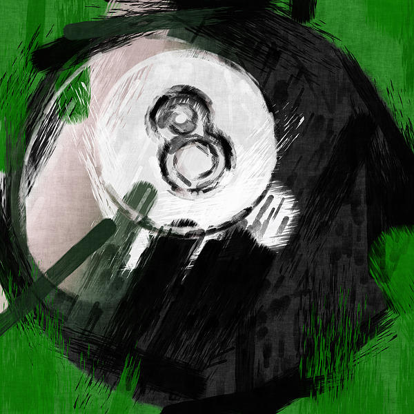 Number Eight Billiards Ball Abstract Print by David G Paul