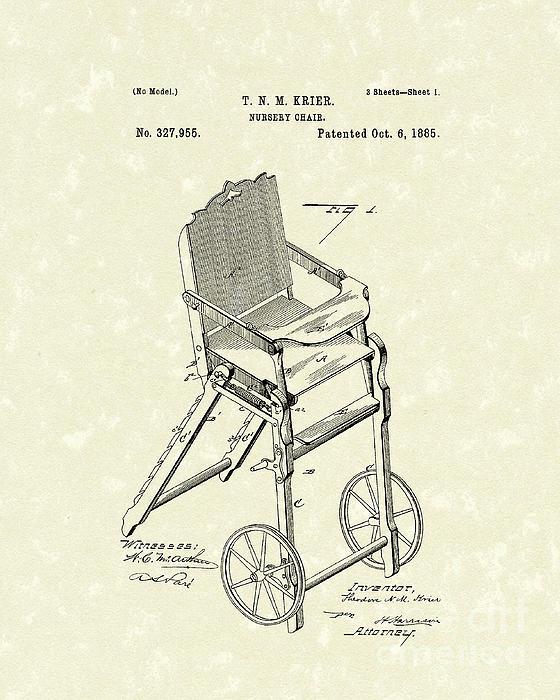 Nursery Chair 1885 Patent Art Print by Prior Art Design