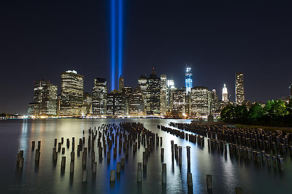 Nyc - Tribute Lights - The Pilings Print by Shane Psaltis