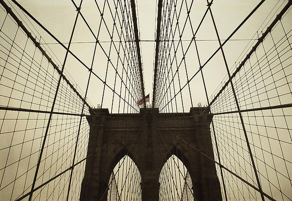 Nyc- Brooklyn Brige Print by Hannes Cmarits