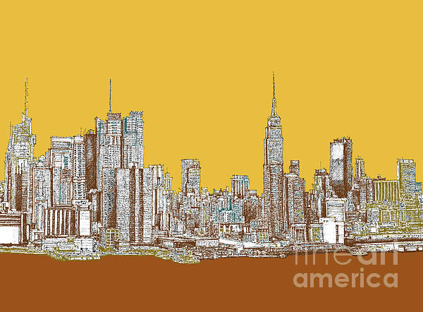 Nyc In Mustard Print by Lee-Ann Adendorff