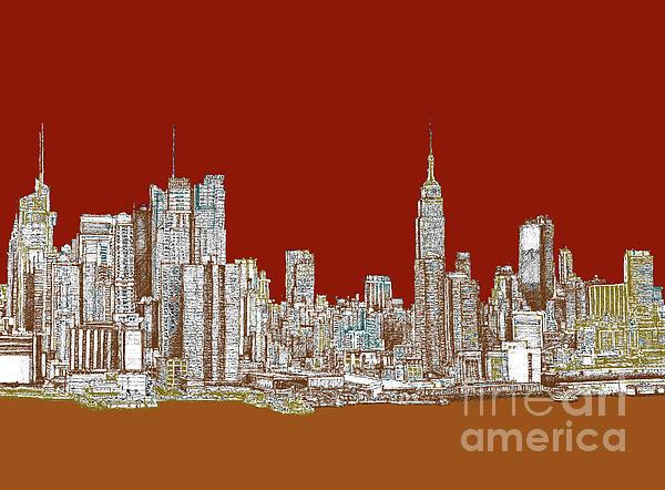 Nyc Red Sepia  Print by Lee-Ann Adendorff