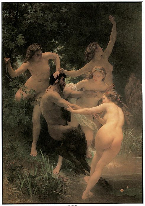 Nymphs And Satyr Print by Adolphe William Bouguereau