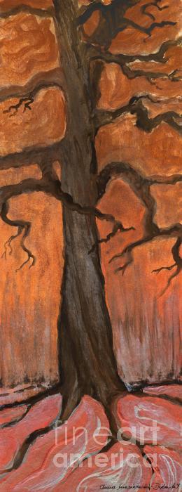 Oak Tree In The Fall Print by Anna Folkartanna Maciejewska-Dyba