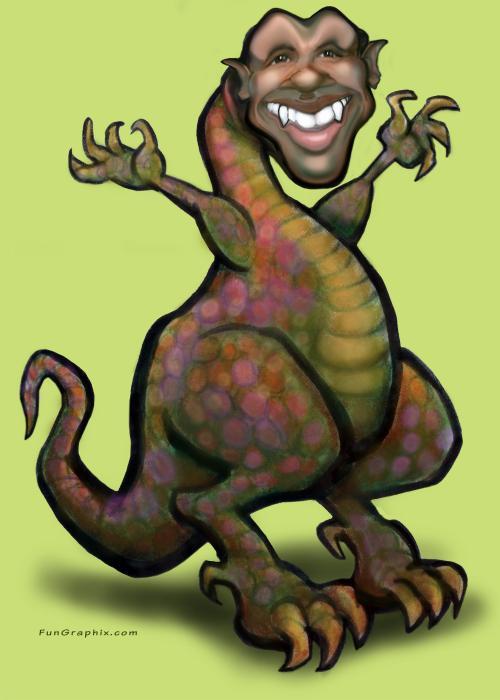 Obama Saurus Rex Print by Kevin Middleton