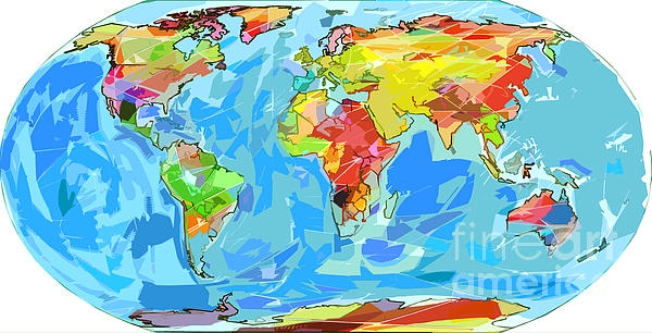 Ocean Currents World Map Print by David Lloyd Glover