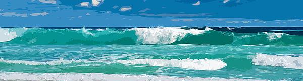Ocean Surf Illustration Print by Phill Petrovic