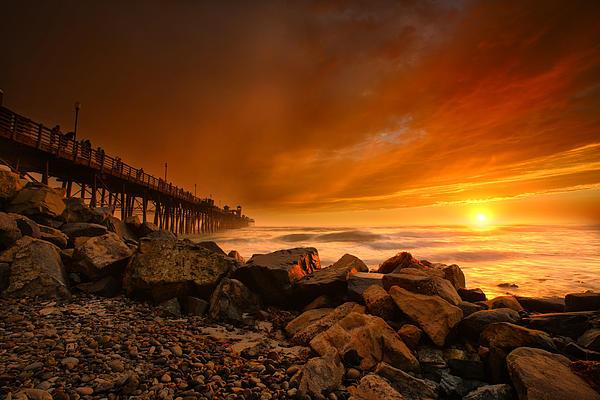 Oceanside Sunset 4 Print by Larry Marshall