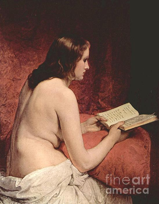 Odalisque With Book Print by Pg Reproductions