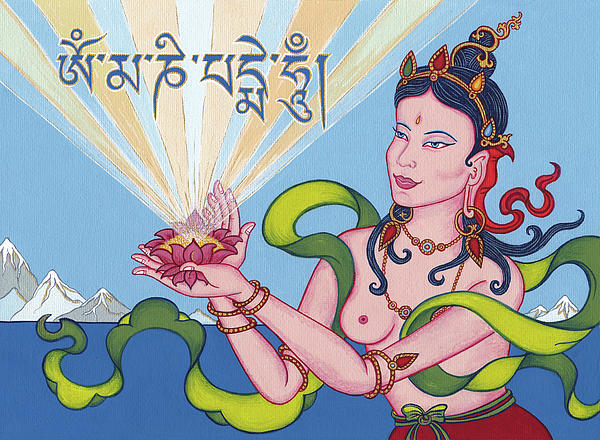 Offering Goddess With Mantra om Mani Padme Hum Painting  - Offering Goddess With Mantra om Mani Padme Hum Fine Art Print