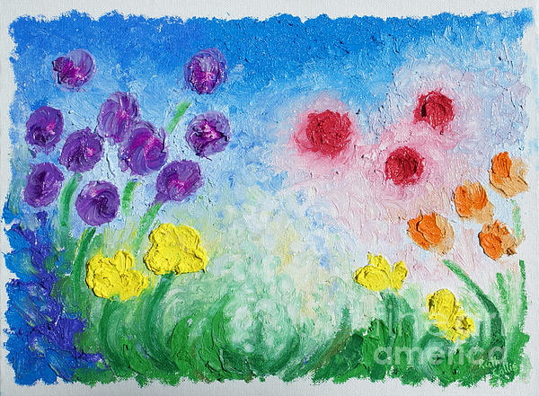 Oil Bar Flowers Print by Ruth Collis
