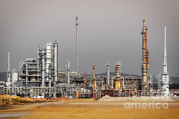 Oil Refinery Print by Carlos Caetano