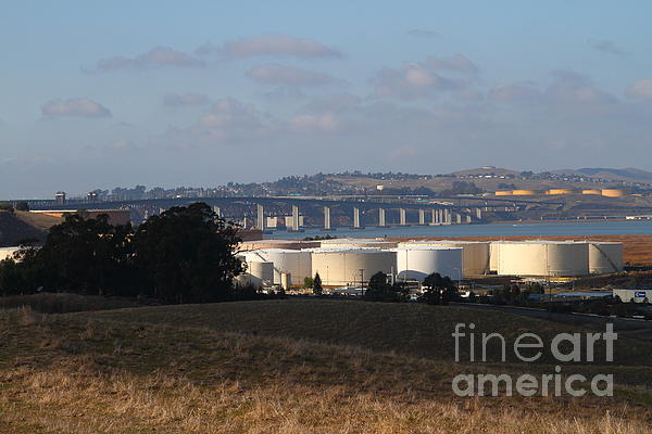 Oil Refinery Industrial Plant And Martinez Benicia Bridge In Martinez California . 7d10388 Print by Wingsdomain Art and Photography