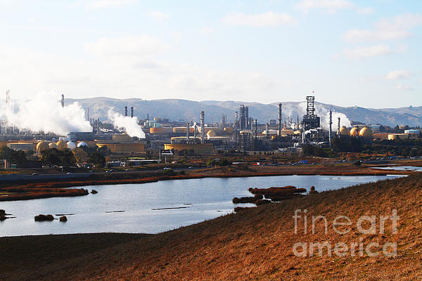 Oil Refinery Industrial Plant In Martinez California . 7d10393 Print by Wingsdomain Art and Photography