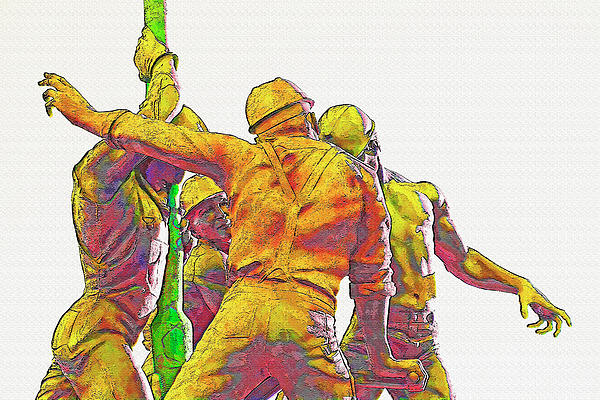 Oil Rig Workers 5 Print by Steve Ohlsen