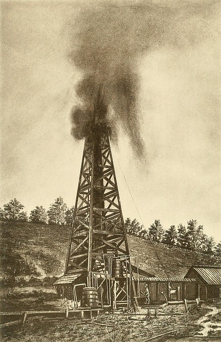Oil Well With A Gusher In The Oil Print by Everett