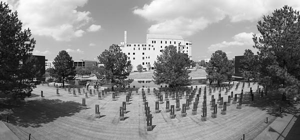 Oklahoma City National Memorial Black And White Print by Ricky Barnard