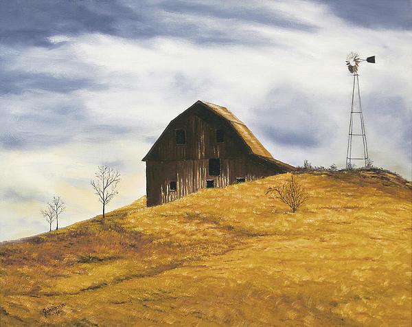 Old Barn With Windmill Print by Johanna Lerwick