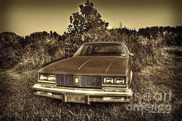 Old Car In Field Print by Dan Friend