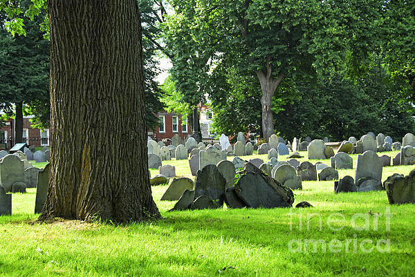 Old Cemetery In Boston Print by Elena Elisseeva