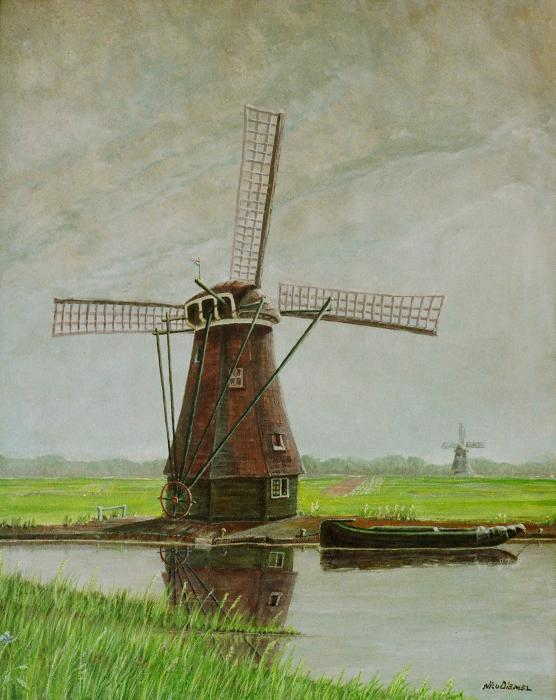 Old Dutch Mill Print by Nick Diemel