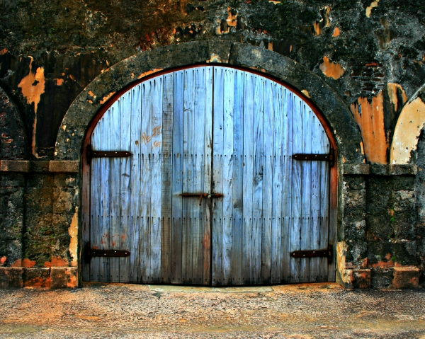 Old Fort Doors Print by Perry Webster