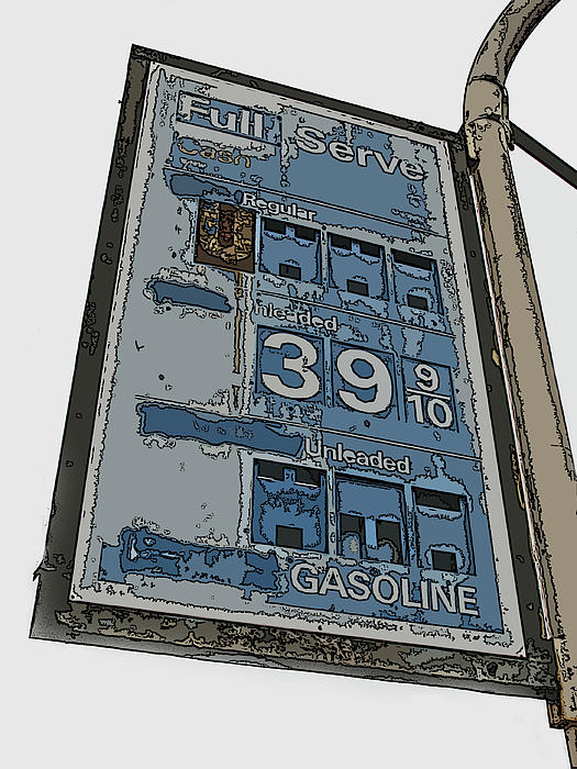 Old Full Service Gas Station Sign Print by Samuel Sheats
