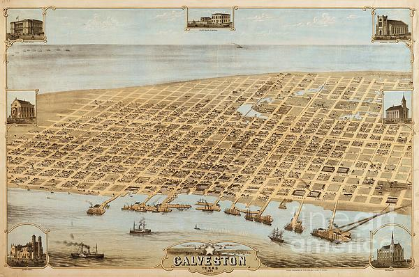 Old Galveston Map Print by Pg Reproductions
