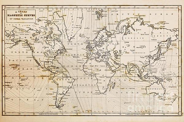 Old Hand Drawn Vintage World Map Print by Richard Thomas