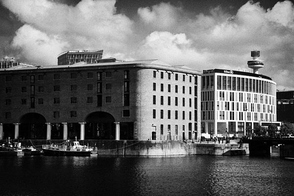 Old Historic Warehouse And The New Hilton Hotel At The Albert Dock Liverpool Merseyside England Uk Print by Joe Fox