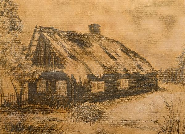 Old Hut Drawing  - Old Hut Fine Art Print