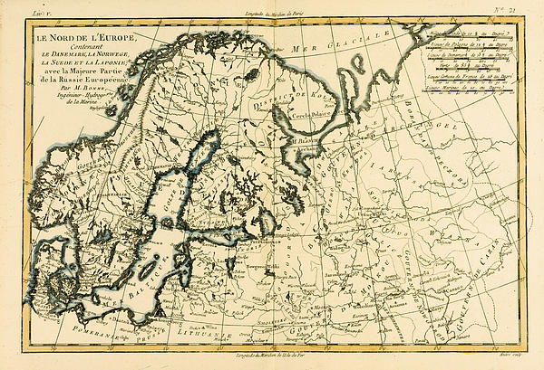 Old Map Of Northern Europe Print by Guillaume Raynal