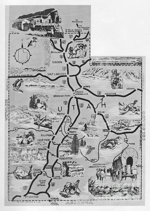 Old Map Of Utah Print by Juls Adams