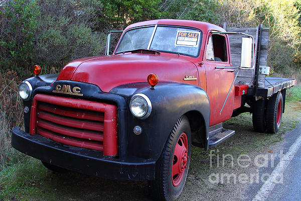 Old Nostalgic American Gmc Flatbed Truck . 7d9821 Print by Wingsdomain Art and Photography
