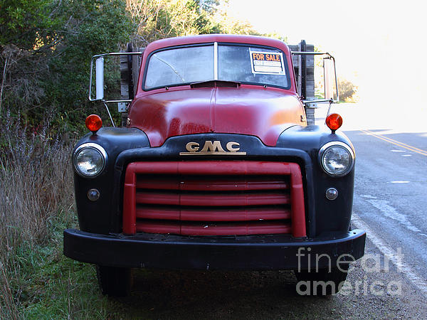 Old Nostalgic American Gmc Flatbed Truck . 7d9823 Print by Wingsdomain Art and Photography