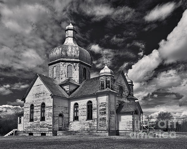 Old Prairie Church And Storm Front Print by Royce Howland