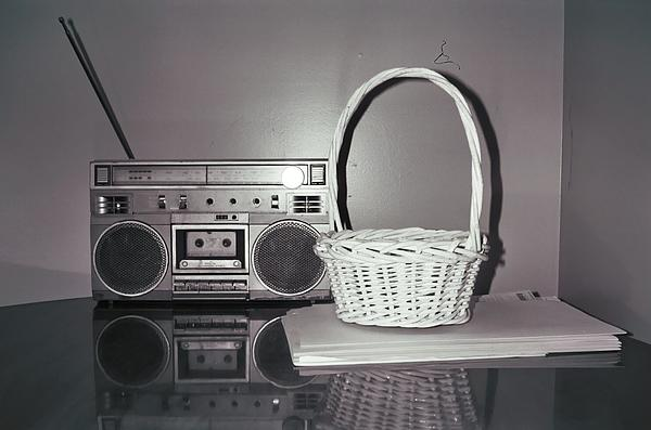 Old Radio And Easter Basket Print by Floyd Smith