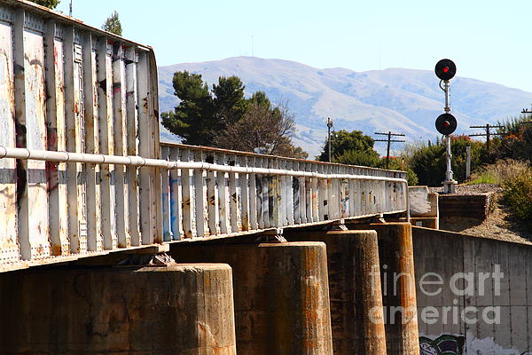 Old Railroad Bridge In Fremont California Near Historic Niles District In California . 7d12669 Print by Wingsdomain Art and Photography