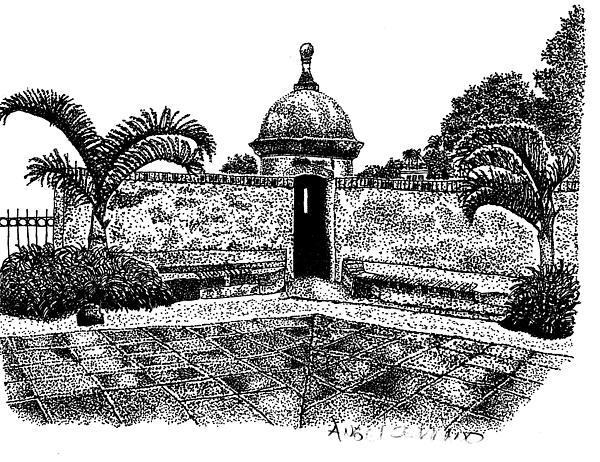 Old San Juan View Print by Angel Serrano