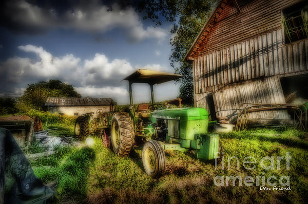 Old Tractor In Field By Barn Print by Dan Friend