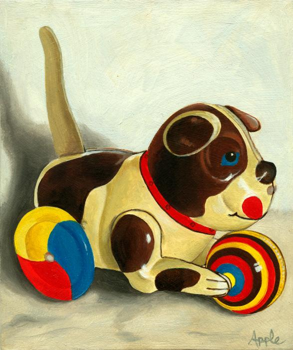 Old Windup Dog Toy Painting Print by Linda Apple