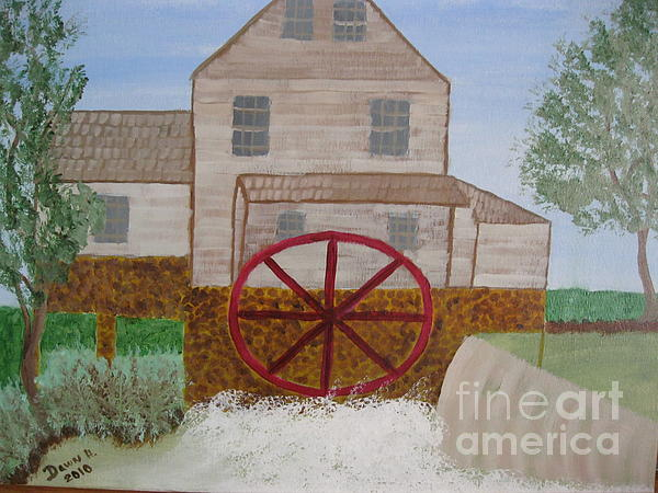 Ole' Grist Mill Print by Dawn Harrold