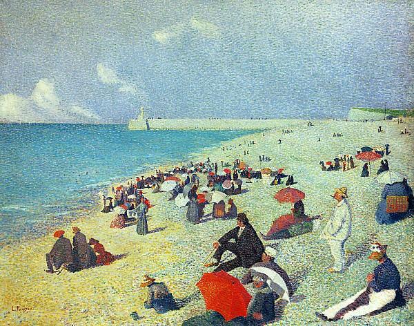 On The Beach Print by Leon Pourtau