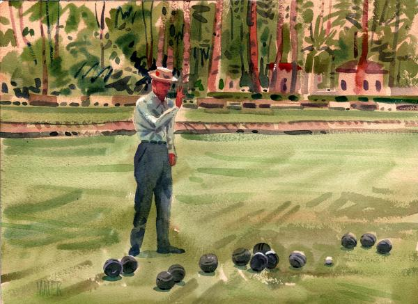 On The Bowling Green Print by Donald Maier