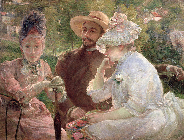 On The Terrace At Sevres Print by Marie Bracquemond