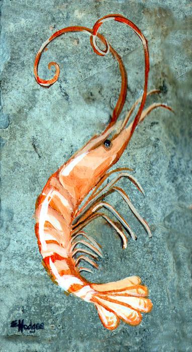 One Shrimp Print by Elaine Hodges